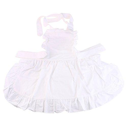 Kind Kostüm Dienstmädchen - UEETEK Frauen Schürze,Süße Modische Frauen Mädchen Baumwolle Schürze Arbeitsschürze für Kochen Backen, Weiß, 60 * 50 CM
