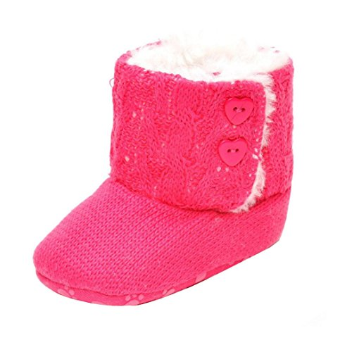Für 0-18 Monate Baby,Baby Mädchen weichen Sohle Krippe Warm Taste Wohnungen Baumwolle Boot Hot Pink