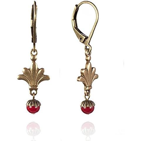 Cohen Cecile-Coconut piccole-Orecchini pendenti rossi e bronzo, stampe, in bronzo,