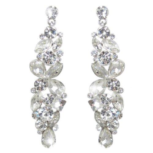 EVER FAITH® silver-tone strappo nuziale goccia Cluster Fiore ciondola gli orecchini cristallo strass
