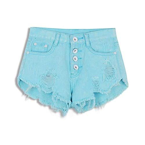 ZHOUXICAN Pantaloncini da Donna Pantaloncini Super Larghi Sexy stropicciati in Pantaloncini a Vita Alta Blu Cielo XL