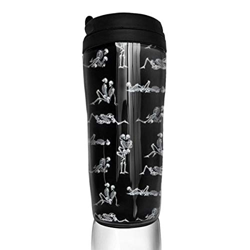 Travel Coffee Mug Love Skulls 12 Oz Spill Proof Flip Lid Water Bottle Environmental Protection Material ABS