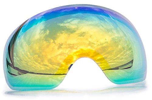 Alpzone Skibrille Snowboardbrille Goggle voll verspiegelt Antifog mit Wechselglas Etui (Gelb Wechselscheibe)