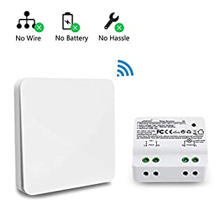 Wireless Light Switch Kit, No Battery No Wiring, Easy to Install On/Off,Self-powered Kinetic Remote Controlled Light Switch, Avoid Chasing Wall for Cables (Contains Switch and Receiver)