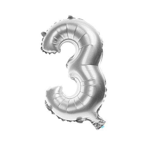 Globos De Aluminio Fiesta De Cumpleaños Decoración Digital Hoja Hincha De Plata / Oro - 32 pulgadas, Plata #