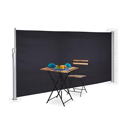 Relaxdays Seitenmarkise ausziehbar, Sichtschutz & Windschutz, Wandmontage, Kassettenmarkise HxB: 180 x 300 cm, anthrazit