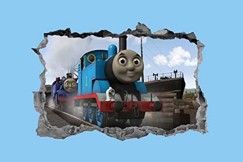 Thomas die kleine Lokomotive, Thomas die kleine Lokomotive, Wandaufkleber, Wandaufkleber, Truck, 3D, Schlafzimmer, Kinder - 40 x 30 cm (Thomas The Tank Engine Decals)