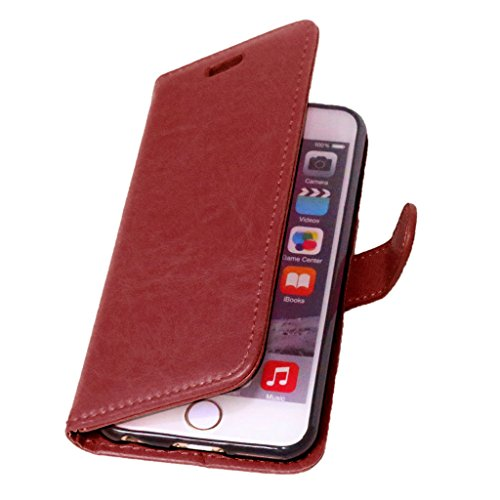 FUBAODA PU Cuir Folio iPhone 6s Case Coque Etui Étui Portefeuille Case Cover [Syncwire Câble Gratuit] Wallet avec Stand support Housse de Protection pour Apple iphone 6 6s (rose) Brown