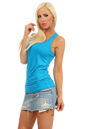 5583 Fashion4Young Damen Tank-Top Damentop Shirt Top Slim fit Unterhemd Basic Ringer-Top neonblau