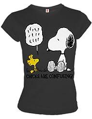 LOGOSHIRT Snoopy & Woodstock Retro Girl Shirt CHICKS CONFUSING Anthrazit Gr. L