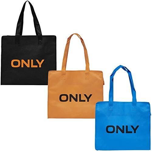ONLY Tasche 3er Pack Shopping Bag Umhänge Shopper Einkaufs Schulter Tasche (Schwarz/Orange/Ocean)