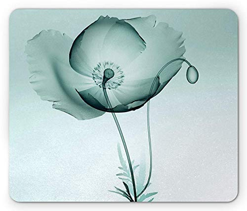 Whecom Poppy Gaming Mauspad, Blossoming Flower Monochrome Spring Season Growth Design in Blue Shades, Standard Size Rectangle Non-Slip Rubber Mousepad, Pale Blue and Black 9.8 X 11.8 INCH -