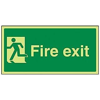 vsafety 14010ay-g Fire Exit Schild, Final Fire Exit Man links, Kunststoff, Landschaft, 300mm x 150mm, grün
