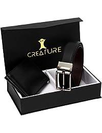 Creature Combo Of Black Color Wallet For Men & Black-Brown Reversible Belt For Men(BL-024-WL-030)