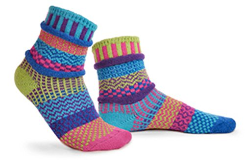 Solmate Socks - Bluebell - Odd Mismatched Crew Socks for Women for Men, Made with Recycled Cotton Yarns in USA