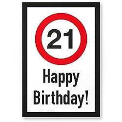 DankeDir! 21 Jahre Happy Birthday Kunststoff Schild - Geschenk 21. Geburtstag, Geschenkidee Geburtstagsgeschenk Einundzwanzig, Geburtstagsdeko/Partydeko/Party Zubehör/Geburtstagskarte