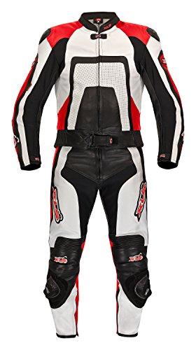 Combinaison 2 pièces en cuir haut de gamme noir/blanc/rouge xLS de 48 taille 46 50 52/54/56 58 60