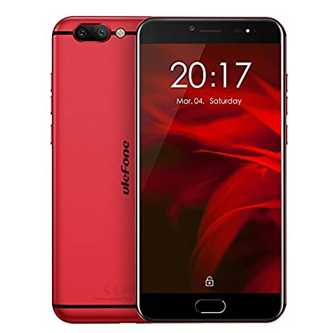 Smartphone ohne vertrag, Ulefone Gemini Pro 4G Handy (Android 7.1, 5,5 Zoll FHD Corning Bildschirm, MT6797 Helio X27 Deca Core 2.6GHz, 4GB RAM + 64GB ROM, 8MP + 13MP + 13MP Triple Kameras Front Fingerabdruck) - Rot