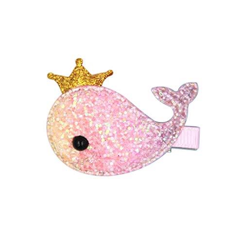 Kimruida Haarspangen Für Baby Mädchen Regenbogen Wal Alligator Haarnadel Glitter Crown ()