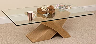 Milano X Glass & Wood Coffee Table Oak, (135 W x 80 D x 45 H cm) - inexpensive UK light shop.