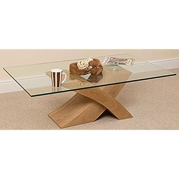 Milano X Glass Wood Coffee Table Oak 135 W X 80 D X 45 H Cm Kitchen Home