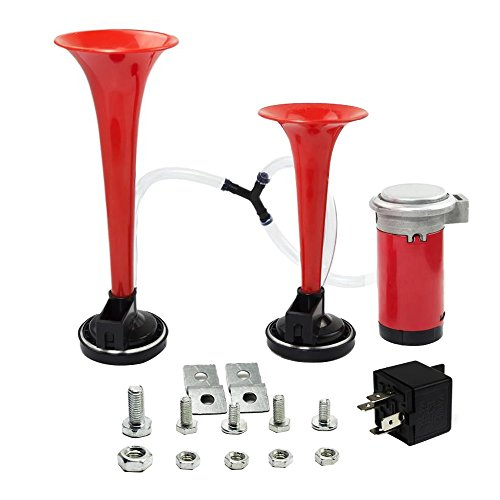 Forepin® Rosso Universale 2 * 12V Super Forte Suono Dual Doppia Tono Tromba Compressore Kit (Super Forte Horn)