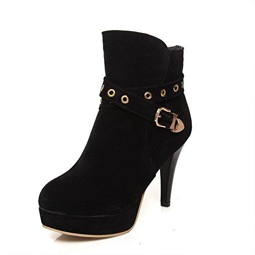 AgooLar Damen Schließen Zehe Blend-Materialien Rein Stiefel Schwarz-Schnalle