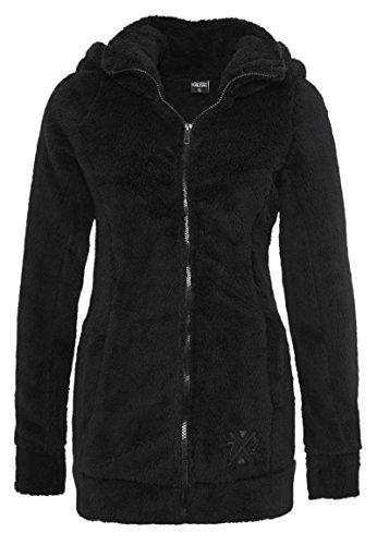 Sublevel Giacca da donna in pile peluche | Morbida giacca di pile a collo alto, disponibile nei colori grigio e nero nero1