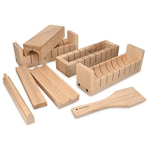 Navaris sushi kit completo in legno - sushi maker 7x attrezzi 1x spatola - per maki roll tondi quadrati triangolari a forma di cuore - sushimaker
