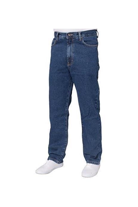 Denim Jeans Da Uomo Gamba Dritta Regolare Pantaloni Casual Plain Heavy Duty Jeans Denim