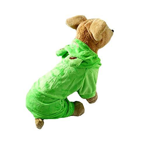 Kostüm Haloween Einfach - Coppthinktu Hundekostüm Frosch Haloween Frosch Haustier Hoodie Outfit Jumpsuit, X-Large, Mehrfarbig