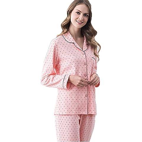 DMMSS Pareja de pijamas de manga larga algod¨®n Cardigan libre juego de los pijamas , 2 , xxl