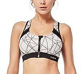 Yvette Damen Sport BH Verschlussvorne BH zum Laufen Yoga Fitness-Training Ohne Bügel Stark Halt Push Up Sport BH HM0130001,Schwarz/Nackt,90F