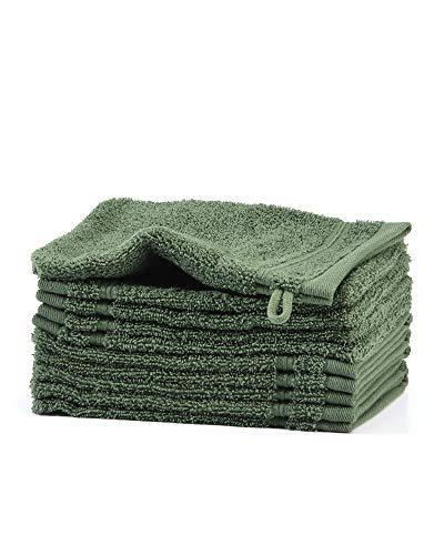 myHomery Waschlappen - Waschhandschuh aus Baumwolle Made IN EU - 10er-Set Wasch Lappen - Waschtuch für Gesicht und Körper - Lappen zum Waschen für Badezimmer und Dusche Moosgrün | 10er-Set - Grüne Waschlappen