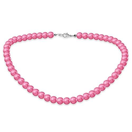 Eine süße SoulCats Kette Perlenkette Perlen viele Farben XXl kurz pink blau creme, Farbe:pink;Kettenlänge:42 cm