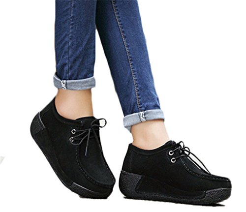 NEWZCERS Frauen beiläufiges lace up Veloursleder Schuhe, die Plattform Schuhe laufen lassen Schwarz