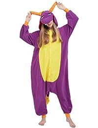 Kigurumi Pijama Animal Entero Unisex para Adultos con Capucha Cosplay Pyjamas Dragón Púrpura Ropa de Dormir