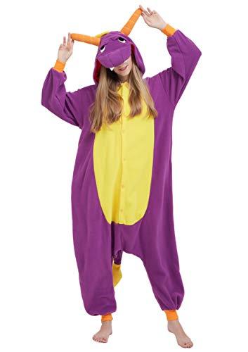 Jumpsuit Onesie Tier Karton Fasching Halloween Kostüm Sleepsuit Cosplay Overall Pyjama Schlafanzug Erwachsene Unisex Lounge Kigurumi Lila Drache for Höhe 140-187CM (Lila Drachen Kostüm)
