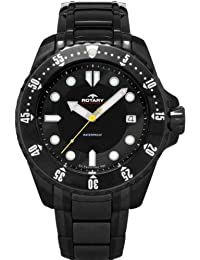 Rotary Men's Quartz Watch with Black Dial Analogue Display and Black Stainless Steel Bracelet AGB00065/W/04
