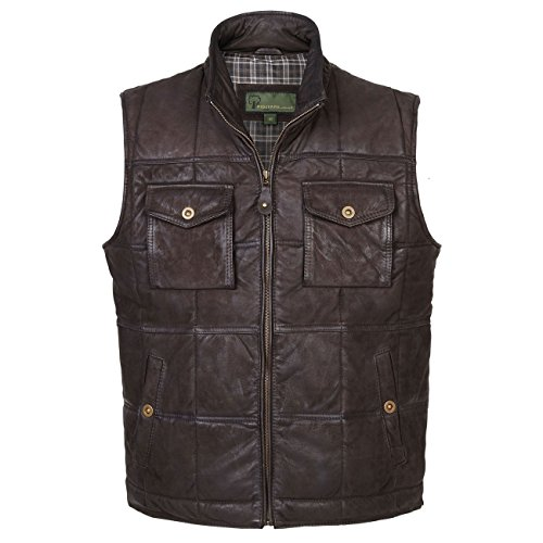 41dUUiQPWoL. SS500  - Monty: Men's Brown Leather Bodywarmer