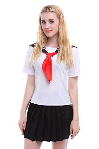 Nuoqi® Japanisch Einheitliche Cosplay Kurzarm Schule Einheitliche Seemann Kostüm Frauen Weiß (EU 42, ()