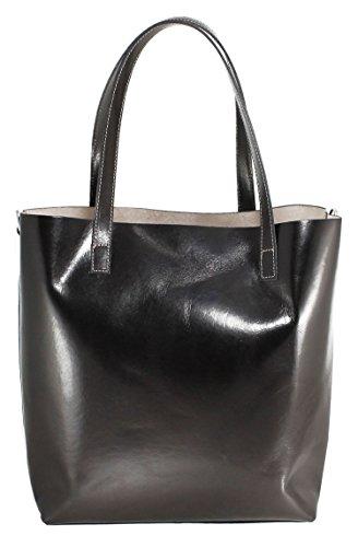 CTM sac des femmes, sac à bandoulière Grand Modèle style italien, 32x34x14cm, 100% cuir véritable Fabriqué en Italie