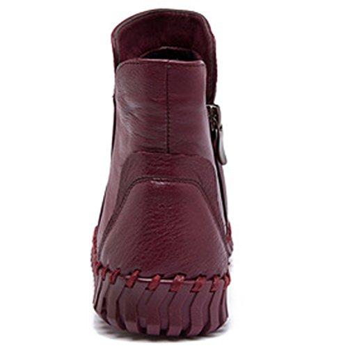 MatchLife Femme Vintage Laçage cuir Hiver Bottines Style1-Bourgogne