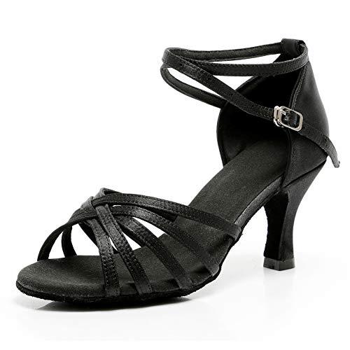 VASHCAME-Zapatos de Baile Latino de Tacón Alto/Medio para Mujer Negro 39 (Tacón-7cm)