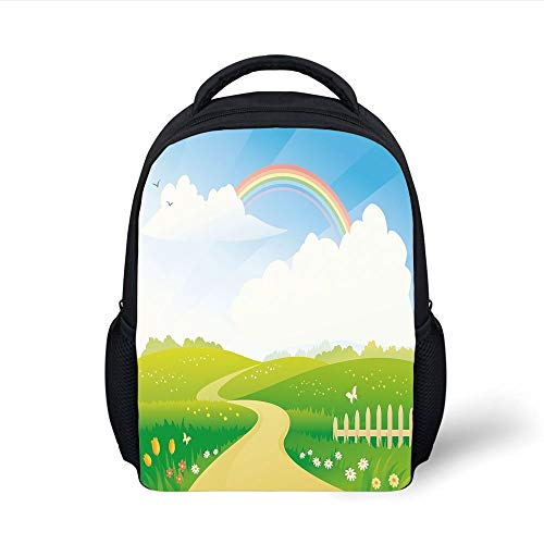 Kids School Backpack Rainbow,Landscape Image Green Hills Road Rainbow Nature Flowers Love Earth Decorative,Lime Green Multicolor Plain Bookbag Travel Daypack