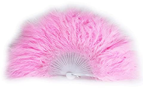Feather Fan Open Size approx. 48cm x 28cm with 28 white plastic Ribs (Pack of 10, Rose pâle) ...