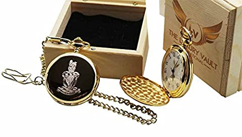 QRH Crested Pocket Watch 24 carat Gold Coated Army Watch Luxury Gift in Case Queens Royal Hussars