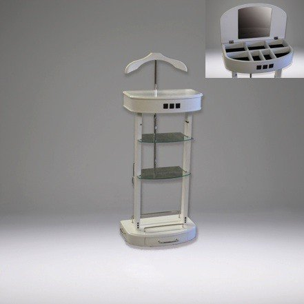 Casa Padrino Designer Luxus Garderoben Ständer mit Spiegel und Regalen Weiß - Dressboy -...