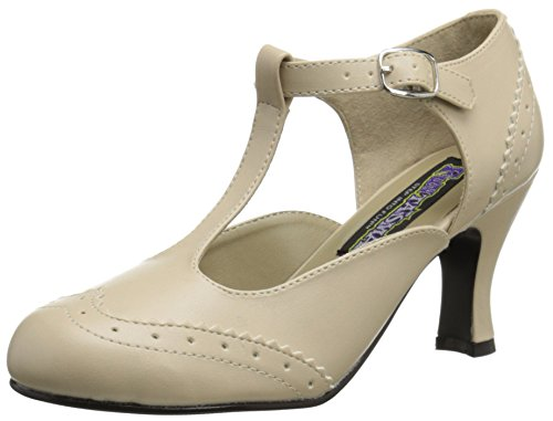 7dea6fc3b2ded Pleaser Women's Flapper 26 T-Bar Pumps, Beige (Cream Pu), 6 UK (39 EU)