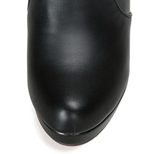 AgooLar Damen Blend-Materialien Rund Zehe Rein Knie Hohe Hoher Absatz Stiefel Schwarz
